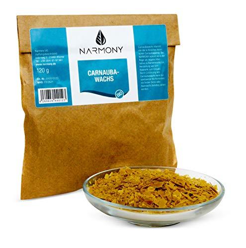 NARMONY Bio-Carnaubawachs aus Brasilien 120g | Kosmetischer Rohstoff DIY Naturkosmetik | Vegane Alternative zu Bienenwachs
