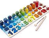 Montessori - Juego educativo de pesca magnético de madera para aprender los...