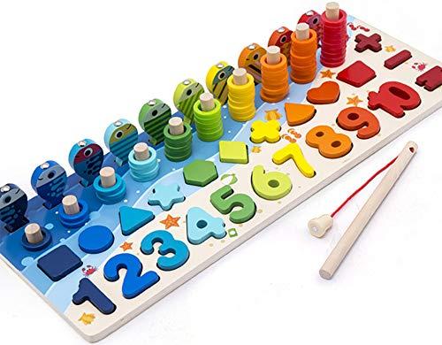 Montessori Lernspiel, magnetisches Angelspiel aus Holz, zum Lernen von Farben und Mathematik