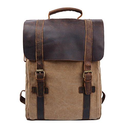 Y-DOUBLE Vintage Tela Zaino Esterni Viaggi Zaino Scuola Borsa a Tracolla Zaino in Pelle Tela Vera Pelle fit iPad e 15' Laptop Backpack per Uomo e donna (Cachi)