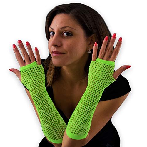 Eventlights 3 Stück NEON grüne Netzhandschuhe - 3 Stück Set - Leuchten im Schwarzlicht - UV aktiv