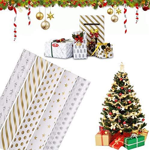 5 PCS Weihnachts Geschenkpapier,Wrapping Paper,Retro Weihnachtspapier,Weihnachts Geschenk Geschenkpapier,Weihnachten Geburtstag,Geschenkpapierblätter,Kraftpapier Geschenkpapier