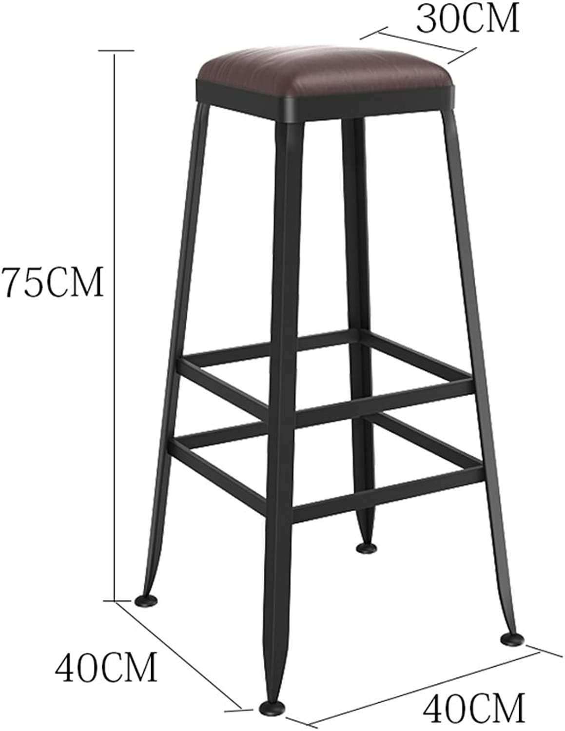 DQMS Bar Stool, Wrought Iron Chair PU Leather Brown High Stool Front Desk Without Backrest (Size   Height 75cm)