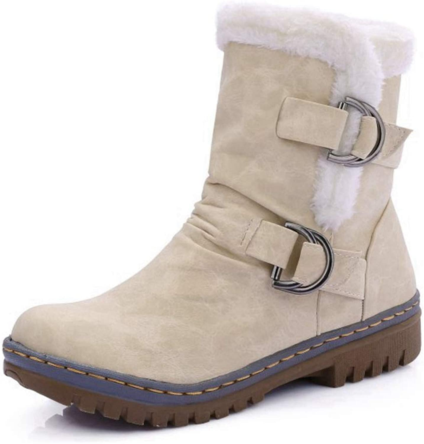 CYBLING Women's Fashion Flat Heel Ankle Booties Side Buckled Outdoor Warm Winter Snow Boots