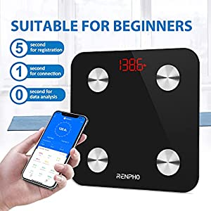 RENPHO Smart Bathroom Scale, Bluetooth Body Fat Monitor Weight Scale, Digital BMI Key Composition Analyzer for Weight, Fat, Muscle Mass, 396lbs