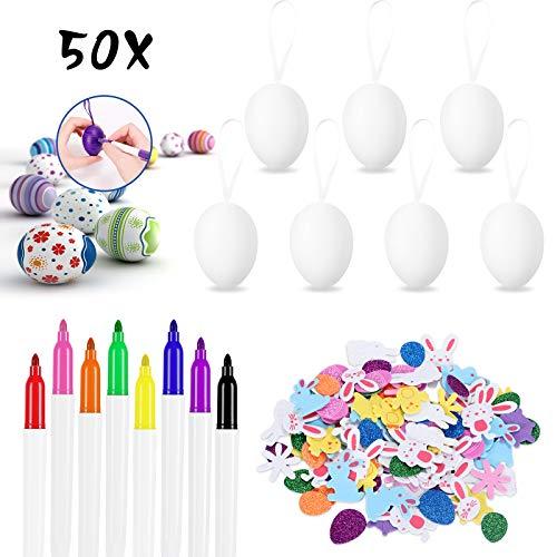 50 Piezas Huevos de Pascua Decoracion, Huevos Blancos Plásticos para Colgar con...