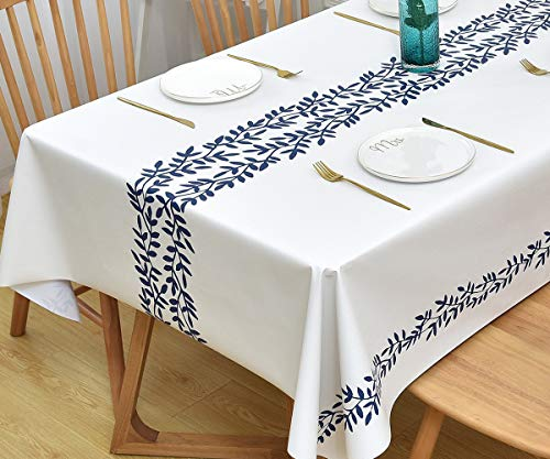 Yofori Table Cloth Plastic Tablecloth Wipeable PVC Wipe Clean WaterProof Table Cover (137x137cm, Rattan)