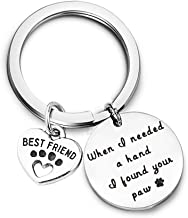 Gzrlyf When I Needed a Hand I Found Your Paw Keychain Gifts for Dog Cat Lover Paw Print Best Friend Charm Key Ring