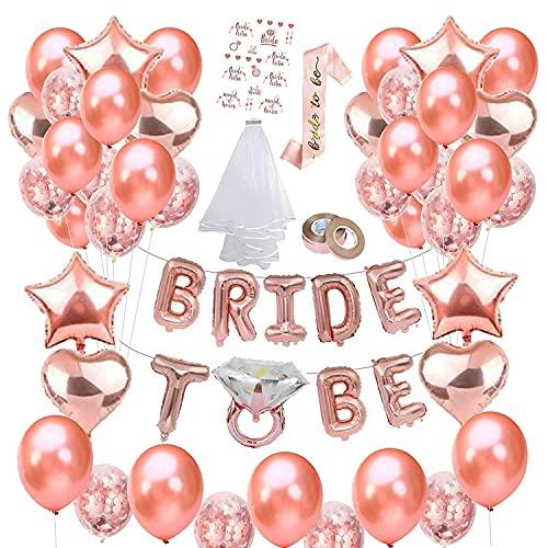 Gohytal Bride to Be Kit, Addio al Nubilato Gadget con Cuore Foil Palloncini Rosegold Palloncini Essere Tracolla Tattoo e Velo, per Team Bride Deco Bachelorette Wedding Engagement Farewell Party Props