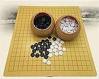 チェスゲーム、旅行大人の子供用ボード囲碁ボードゲームイミテーションストロー缶のプラスチックストーンセット+革製囲碁ボード、18.9 X19.3インチパズルエンターテイメントパーティーゲーム