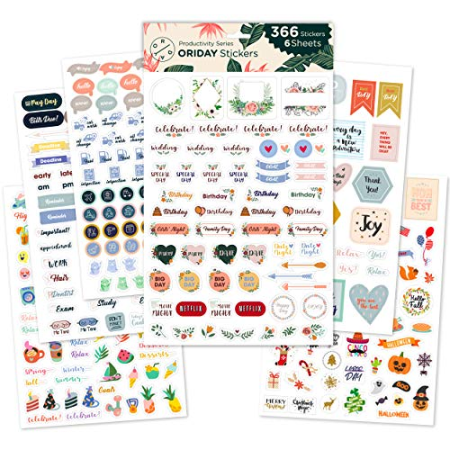 Oriday, Monthly Calendar Planner Stickers 6 Sheets, Set of 391 Stickers for Daily Life Productivity