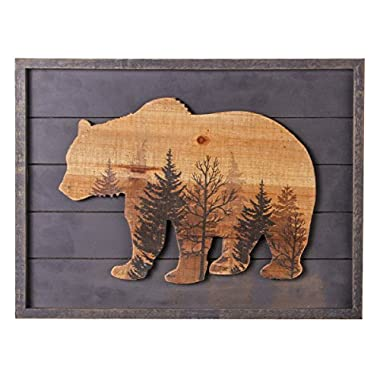 NIKKY HOME Cute Bear in The Forest Decorative Wood Framed Wall Art Prints Cabin Decor,Gray