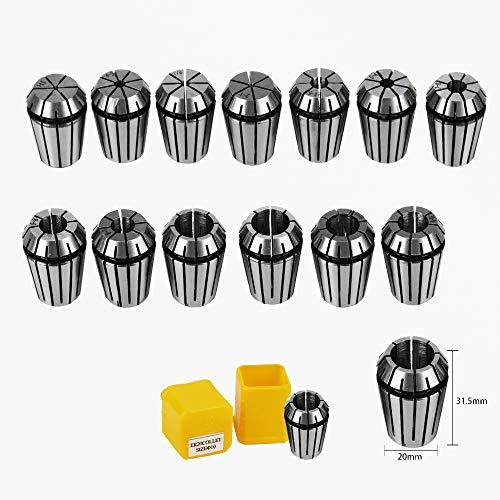 13Pcs ER20 Spannzangen Set, ER20 Federzange 1-13mm ER20 Spannzangenfutter für CNC-Graviermaschine & Fräswerkzeughalter