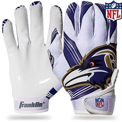 Franklin Sports Baltimore Ravens Youth NFL Football Receiver Gloves - Receiver Gloves For Kids - NFL Team Logos and Silicone Palm - Youth M/L Pair