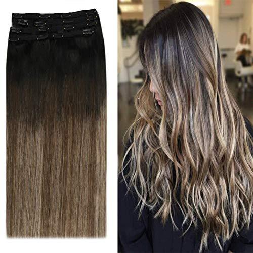 YoungSee Extention Cheveux Naturelles Clip Noir Ombre Marron Foncé mixte Blond Cendré Extension a Clip Cheveux Naturel Balayage 18 Pouces 7pcs/120g