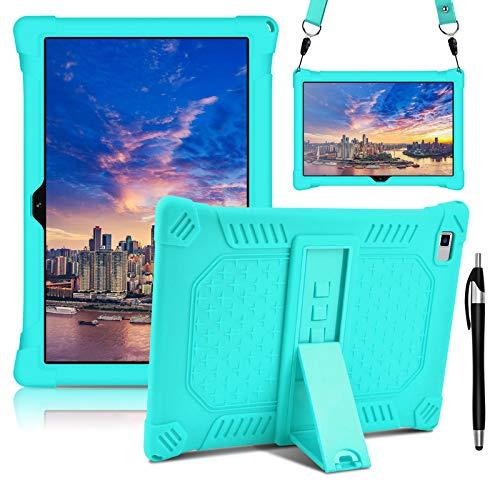 KATUMO Custodia tablet in silicone da 10,1 pollici per Teclast P20HD [S Pen, tracolla e cavalletto regolabile], cover protettiva leggera compatibile con tablet TECLAST M40 ,Menta verde