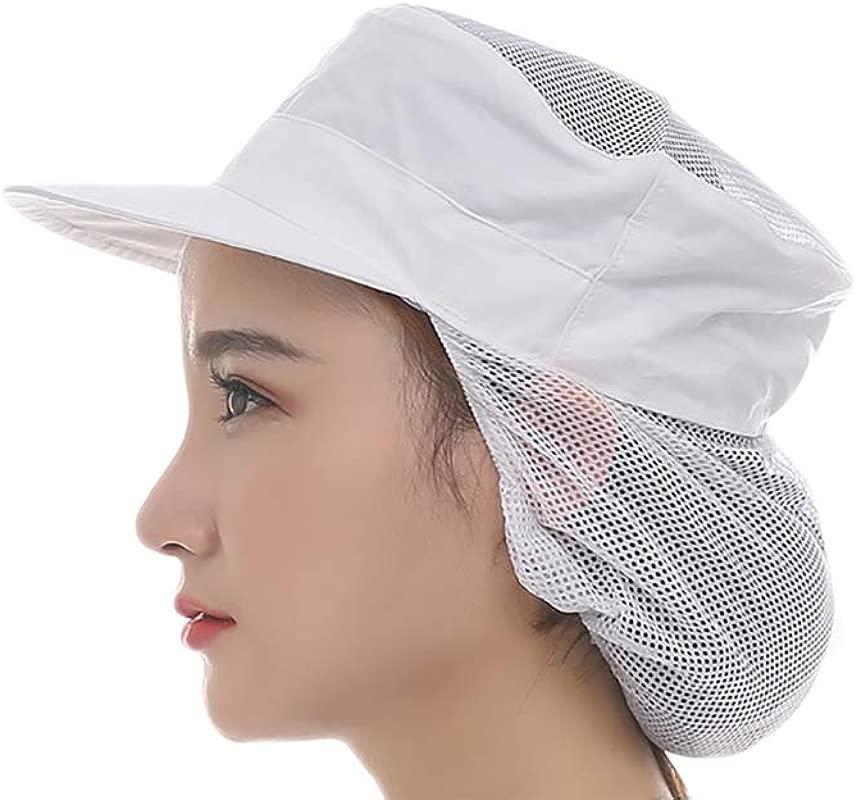 Losofar Women Men Pack Of 2 Elastic Plain Pattern Breathable Mesh Work Chef Hat For Home School Restaurant White 2PCS