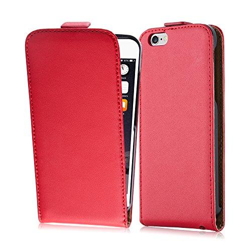 Cadorabo Custodia per Apple iPhone 6 / iPhone 6S in Rosso Chili - Protezione in Stile Flip di Similpelle Fine - Case Cover Wallet Book Etui
