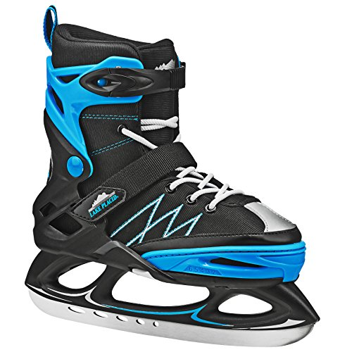 Lake Placid Monarch Boys Adjustable Ice Skate, Black/Blue, Medium/2-6