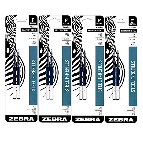 Zebra F-Series Ballpoint Stainless Steel Pen Refill, Fine Point, 0.7mm, Blue Ink, 2-Count (4)