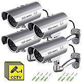 Cámara Falsa, Dummy Cámara de Seguridad Vigilancia Falsa Inalámbrico Impermeable Sistema de Vigilancia IR LED Parpadeante Fake Cámara Simulada CCTV (4Pcs)