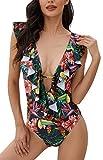UMIPUBO Bikini Donna Scollo a V Increspatura Intero Costume da Bagno Costumi Sexy Swimsuit Halter Swimwear(B,L)