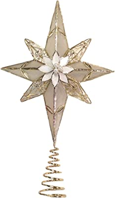 Kurt Adler 8-Point Star Treetop, 12-Inch, Gold Capiz