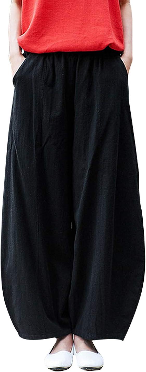 Tanming Women's Casual Elastic Waist Baggy Cotton Linen Pants Lantern Trousers