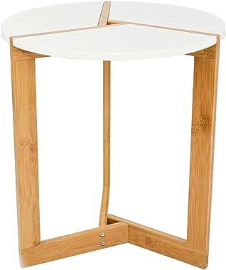 DuneDesign Table d'Appoint Scandinave 40x45cm Blanche - Table de Chevet Ronde Table Basse en Bois