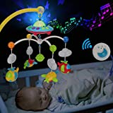 Baby Musical Crib Mobile with Hanging Rotating Toys, Remote Control, Lights Projector Function Music Box, Cartoon Rattles for Babies Boy Girl 0-24 Months, Newborn Sleep with 108 Melodies (Plane)