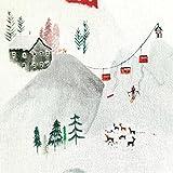 Stoff Meterware Baumwolle weiß Schnee Berge Ski