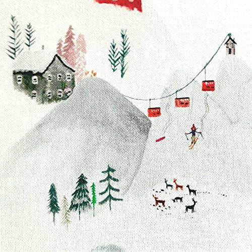 Stoff Meterware Baumwolle weiß Schnee Berge Ski Winterlandschaft gemütlich Dekostoff Kissenstoff Vorhangstoff Kleiderstoff