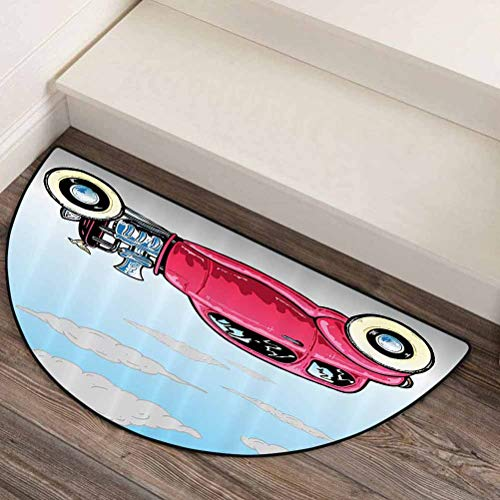 44' L x 22' W Cars Decor Collection Doormat Outdoor Decorative Durable and Long Lasting Old Classic American Hot Rod Car with Large Engines Modified for Linear Speed Graphic Work Blue Pink