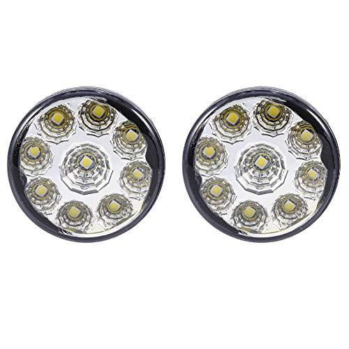 2pcs Lampe de Brouillard de Voiture, Keenso 12V 9-SMD LED Conduite de Jour en Cours d'Exécution de Lumière DRL Brouillard Universel Super White Round Head Ampoules