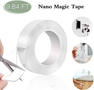 Wellbuy traceless washable adhesive tape, Reusable Gel nano tape Multifunction clear double-sided removable tape for Paste photos and posters, fix carpet mats, Paste items etc(9.85 FT/3M)