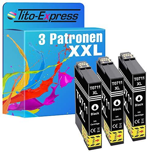 Tito-Express Juego de 3 cartuchos de tinta compatibles con Epson T0711 con 18 ml negro y 18 ml cada color XXL DX-5500 SX-415 DX-5000 DX-4400 D-78 DX-4000 DX-4050 DX-5050 DX-6000 DX-6050 DX-70. 00 F