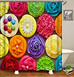 Duschvorhang Cupcakes, Mehrfarbig, 200cm*180cm Shower Curtain Only