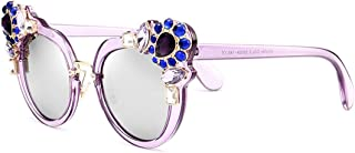LUKEEXIN Decoration Flower Sunglasses for Women UV Protection Colored Lens Driving Travelling Outdoor (Color : C5)