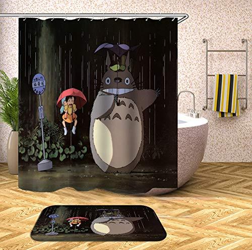 Pallima Wasserdicht Anti-Schimmel-Effekt Waschbar Totoro Digitaldruck Duschvorhang mit 12 Kunststoffhakens Duschvorhangringe Polyester Textil Stoff Badewannevorhang 180cmX180cm