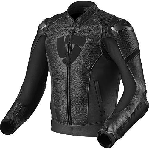 Lederjacke Revit Quantum Motorradjacke perforiert Top Passform, schwarz, 50