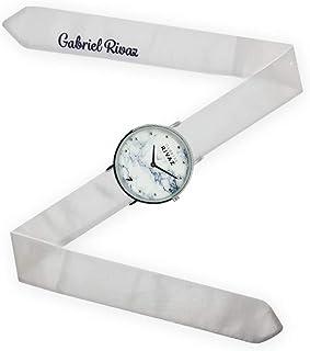 Montre Bracelet Foulard signée Gabriel Rivaz - Bracelet en Soie - Montre Fond marbré - Mécanisme Japonais - Blanc