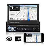 Hikity Single Din Car Stereo with GPS 7 Inch Folding Capacitive Touch Screen Radio FM Bluetooth Receiver with USB AUX-in SD Card Port Supports Mirror Link for Android Phone + 8G Map Card