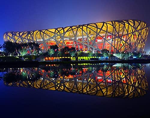 Bdgjln Rompecabezas Puzzle 1000 Piezas-Arquitectura China Nido de pájaro de Beijing-Puzzles para Adultos, Educativo Intelectual descompresión,Divertido Juego Familiar para niño y Adultos-50x75cm
