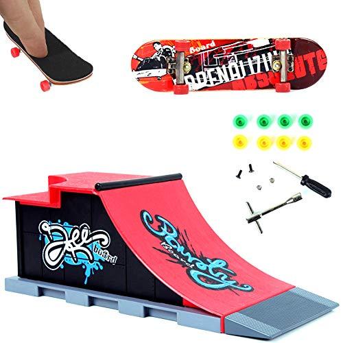 Rachlicy 1set Finger Skateboard Venue Kombination Set Mini-Finger-Brett Micro Skateboard-Rampe Werkzeuge Spaß Skateboard Platz Spielset Spielzeug-Geschenk (c)