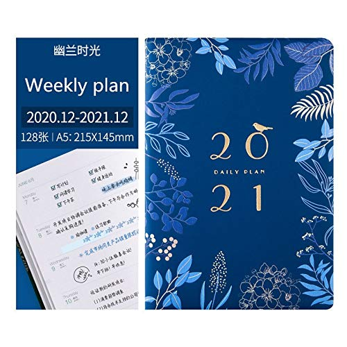 UNDKI Cuaderno clásico Agenda 2020 2021 Weekly Monthy Planner Notebook Kawaii Journal Diario Página Interior Ilustración Plan Diario Escuela Papelería Regalos Libreta de Viaje Cuaderno Agenda