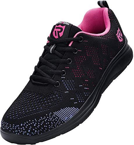 [LARNMERN] 安全靴 メンズ レディース 超軽量 滑り止め 通気性 クッション 作業靴 セフティシューズ メッシュ スニーカー つま先保護 ワークシューズ 防刺 衝撃吸収 耐久性(星光紫、37)