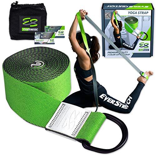 EverStretch Correa Yoga para Stretching 243 cm. Cinturón de Anillos en D Ajustable para Yoga, Pilates y Fisioterapia. El cinturón de Yoga más Lujoso Entre Las Bandas para Stretching