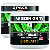 Genie's Solutions Organic Hemp Cream for Pain Relief - Soothing Lotion for Neck, Back, Knee, Joint, Muscle Aches - Natural Formula with Turmeric, Aloe, MSM, Copaiba, Helichrysum, Arnica - USA
