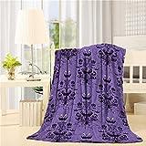 Flannel Fleece Bed Blanket 60 x 80 inch Halloween Throw Blanket Lightweight Cozy Plush Blanket for Bedroom Living Rooms Sofa Couch - Mystic Skull Horror Art Purple