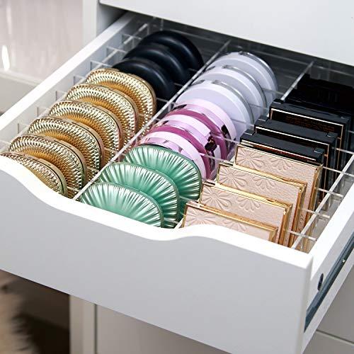 TidyUps DIVIDERS for COMPACTS | Trennstege-Set als Schubladeneinsatz für IKEA Alex 5 | Kosmetik Organizer für Puderdosen aus Acryl (52cm)